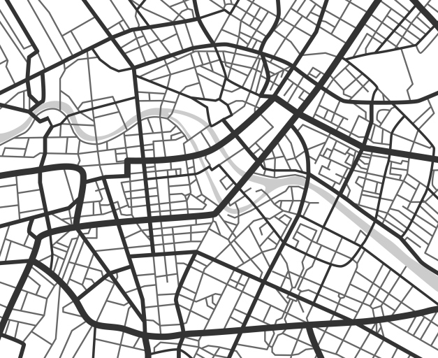 Abstract city navigation map with lines and streets. Vector black and white urban planning scheme. Illustration of plan street map, road graphic navigation