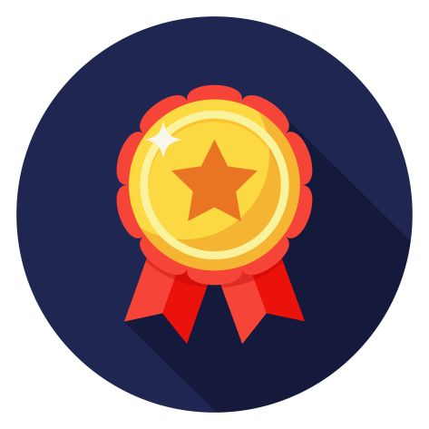 Star badge icon.